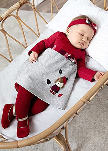 Mayoral Vestido Desagujado con Diadema Bebe Niña Rojo (2 a 4 meses)