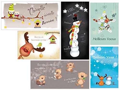 Lot 6 cartes de voeux 2021 différentes en français - Cartes de bonne année originales, humoristiques et modernes