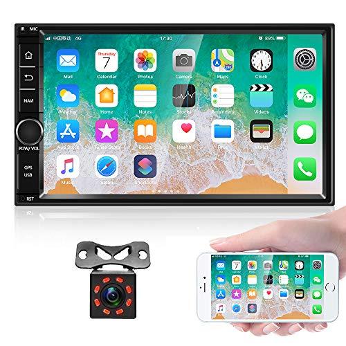 Android 8.1 Autoradio Stereo Empfänger, Doppel Din 7'' HD Touchscreen Kopfeinheit, Unterstützung Bluetooth Dual System Mirror Link eingebaut GPS WiFi + 8 LED-Leuchten Backup-Kamera