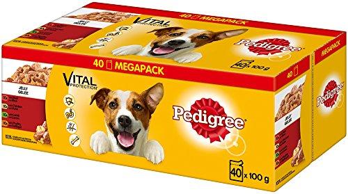 Pedigree Hundefutter Nassfutter Adult in Gelee, 40 Portionsbeutel (1 x 40 x 100 g)
