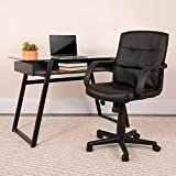 Flash Furniture Mid-Back Black LeatherSoft Swivel Task Office Chair with Arms, BIFMA Certified