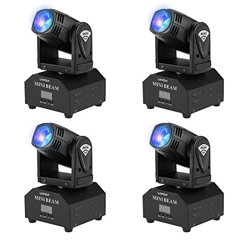 Lixada LED Head Moving Light Rotating Moving Head DMX512 Sound Activated Master-slave Auto Running 11/13 Channels RGBW Color Changing Beam Light