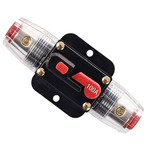 RKURCK 100A Schutzschalter, Sicherungshalter Manuelle Rückstellung Inline-Sicherungsblock für Auto Audio Marine Trolling Motoren Boot ATV Audio Solar Wechselrichter System Schutz 12V-24V DC 100 Amps