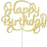 8 Pack Happy Birthday Cake Topper Decoration Gold Glitter