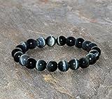 Pulsera Ojo de Halcón gris azul oscuro Pulsera Azul joyería hecha a mano pulsera de cuentas de mala de 8mm grado AA Ojo de halcon piedras preciosas naturales pulsera para regalo