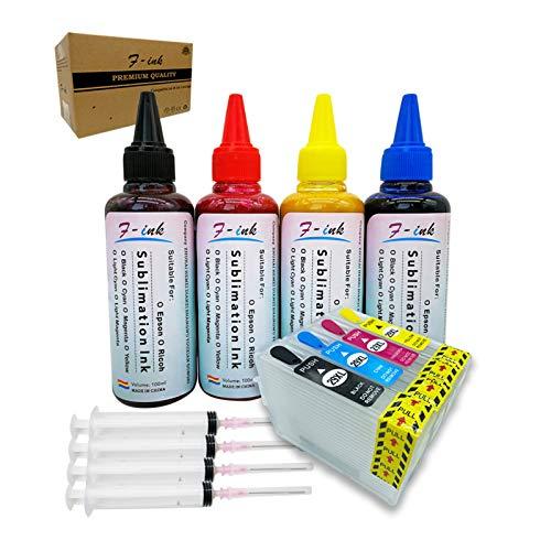 F-ink - Juego de tinta de sublimación (400 ml, compatible con cartuchos de tinta de 29 o 29 XL, tinta de transferencia de calor para tazas/platos/camisas de poliéster/fundas de teléfono