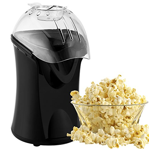 Nictemaw Hot Air Popcorn Maker No Oil Popcorn Popper Machine with Measuring Cup and Top Cover, Electric Popcorn Maker Machine easy to clean(Black)