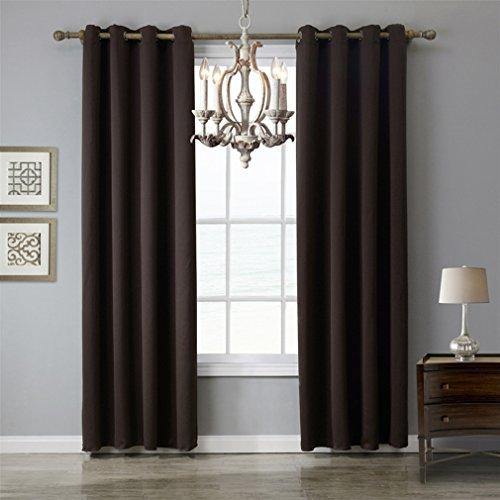 Paire de rideaux anti - acariens thermiques brun foncé