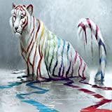 N / A White Tiger with Colorful Stripes Home Decoration Oil Painting Poster and Print Mural Animal Picture On Canvas Frameless 60X80CM
