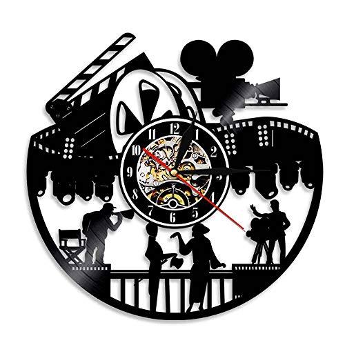 Nfjrrm Disparo Antiguo Reloj de Pared con Disco de Vinilo Tema Moderno luz de película led Regalo de Arte de Pared, Adecuado para la Silueta del Director decoración del hogar 30x30cm