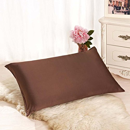Taies d'oreillers, kingko (TM) Rectangle coussin couverture soie Throw Pillow Case taie d'oreiller (café)