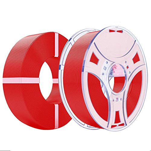 eSUN PLA+ Refilament and eSpool Kit, Removable and Reusable Empty Filament Spool Fit 3D Printer Refill PLA Plus 1.75mm, 1KG (2.2 LBS) Spoolless Filament, Fire Engine Red