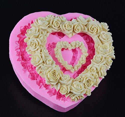 Stampo in silicone a forma di cuore con rose e fiori, ideale per decorare torte di San Valentino, cioccolato, torte in resina, argilla, fai da te, per pasta di gomma, cupcake, pasticceria e dolci