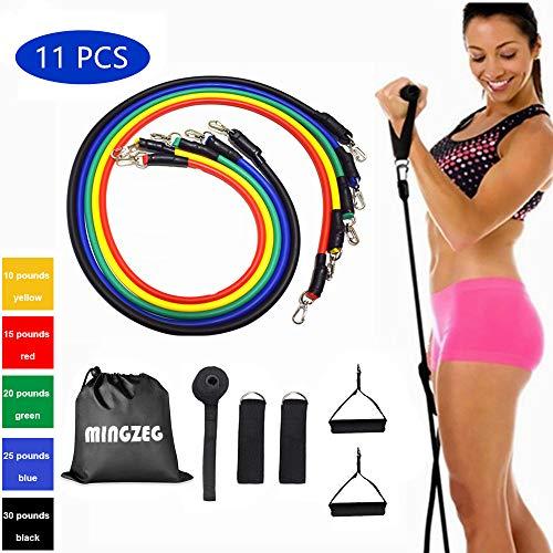 11PC Resistance Band Fitness Rope Kit incluye 5 bandas de ejercicio apilables con manija anclaje para puerta y correa para el tobillo Hasta 100 lbs Entrenamiento de resistencia Ejercicio hogar