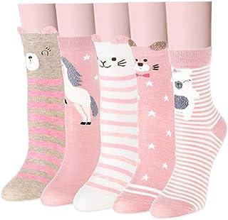d235abf7850b1 Yuccer Dessin Animé Chaussettes, Mignon en Coton Chaussettes Multicolore  Sans Couture Chaussettes pour Filles,