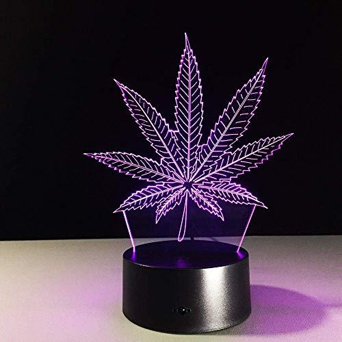 Lámpara De Ilusión 3D Luz De Noche Led Táctil/Control Remoto 7 Colores Marihuana Hoja De Cannabis Panel Acrílico Lámpara De Mesa Para Dormitorio Niños Regalo Para Niños