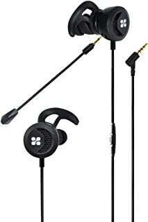 Promate Gaming In-Ear Headphones, High Fidelity Gaming 3.5mm Wired Earphones with Detachable Dual Mic Volume Control and Passive Noise Cancellation Earbuds for Gaming, Smartphone, Clink (Black)