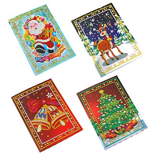 Amosfun 5D Diamond Painting Card Delicate Creatieve Boor Kerstkaart Wenskaarten DIY Kaarten Kerstmis Gift voor Vrienden Familie