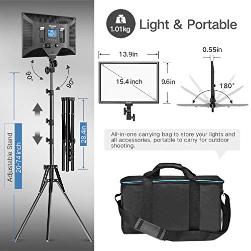 "LED Video Lighting Kit with Wireless Remote, Dazzne D50(2 Packs) Dimmable Bi-Color 15   .4"" LED Panel Light Stand, 45W 3000K-5800K CRI>96 Studio Light for Video Shooting Live Stream Photography YouTube"