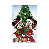 Dragón Vines Mickey Min-nie Mouse llevando un sombrero de Navidad Impresión Arte Lienzo Pintura Residencial Oficina Decoración de la Habitación 20 x 30 cm