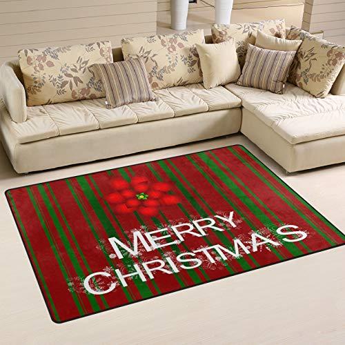 UMIRIKO Merry Christmas Poinsettia Rug Red Green Stripe Laundry Collection Area Rug Non-Slip Floor Rug Doormat for Bathroom Bedroom Decor 60 x 39 in 2021850