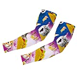 uideazone Men Women Galaxy Burrito Taco Pizza Cat Print Arm Sleeves Stretch Cover UV Sun Protection Elbow Sleeve for Outdoor Sports Golf