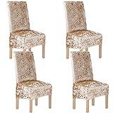 Terciopelo triturado 2/4/6 piezas XL Fundas para sillas para sillas de comedor, fundas para sillas para comedor Banquete de boda Decoración para fiestas (4 Pack(XL),Caqui-G)