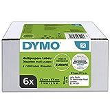 DYMO LW Etichette Autoadesive Multiuso Originali, per Etichettatrici LabelWriter, 6 Rotoli da 1.000 Etichette Facilmente Staccabili, 32 x 57 mm