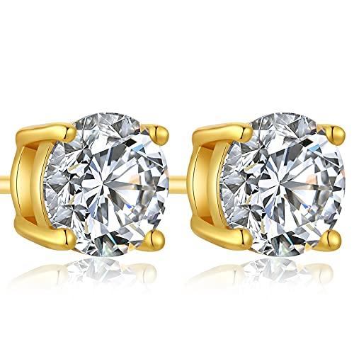 Aretes de oro para mujer hombre Pendientes de Diamante Mujer Pendientes de plata de ley mujer pendientes con diamantes de oro mujer pendientes de circonita Pendientes Mujer Oro 8mm