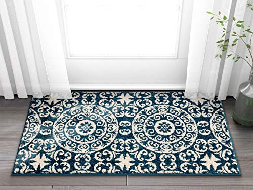 """Well Woven Siq Tiles Blue Oriental Geometric Medallion Contemporary Casual Area Rug 2x4 (2'3"""" x 3'11"""") Easy Clean Stain Fade Resistant No Shed Modern Traditional Moroccan Persian Living Dining Room"""