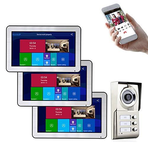 Timbre de puerta con vídeo por wifi para 3 apartamentos, 3 monitores con sistema de videoportero de 10 pulgadas, cámara impermeable IR-CUT con botón de llamada.