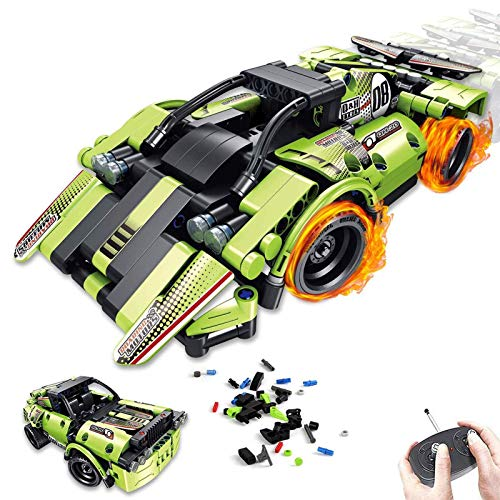 2 in 1 Remote Control Racing Car - 335 Piece Building Kit Take Apart RC Race Car Snap Together Engineering Car Kits Off-Road Truck STEM Building Toys Early Learning Racecar Toys Gift for Kids Age 6+