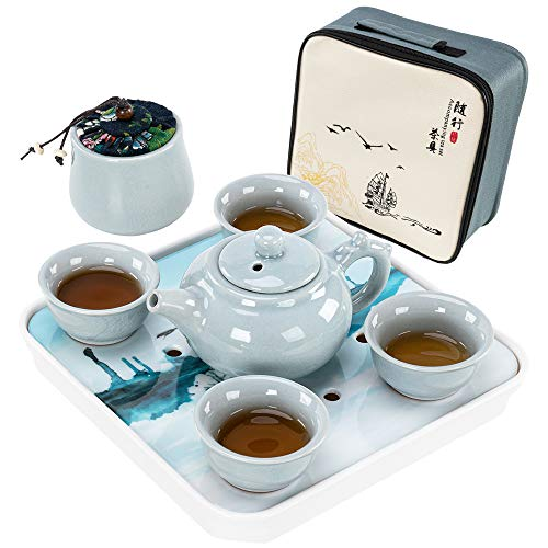 AIROGYM Portable Travel Tea set - Chinese Gongfu Tea Set with 4 Cups for Adult, Tea Lover, 100% Handmade Traditional Kung fu Tea Ceremony Set with Tea Can, Teapots, Teacups, Tea Tray and Travel Bags