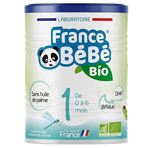 FRANCE BéBé BIO - Lait infantile pour bébé 1er âge en poudre 0 à 6 mois - Lait fabriqué en France - BIFIDUS - SANS HUILE DE PALME - 400g