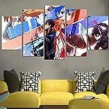 IMXBTQA Cuadro En Lienzo 150X80Cm Sword Art Onlin Asuna Y Kirito Loves Impresión De 5 Piezas Material Tejido No Tejido Impresión Artística Imagen Gráfica Decor Pared
