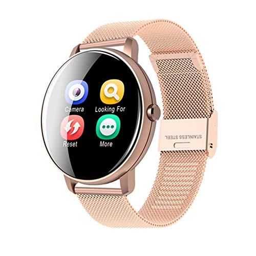 Smart Watch Women Women Touch Full Touch Redondo Monitor De Ritmo Cardíaco Redondo Presión Arterial Smartwatch para Apple Android Xiaomi Teléfono PK Iwo (Color : P8 Steel Gold)