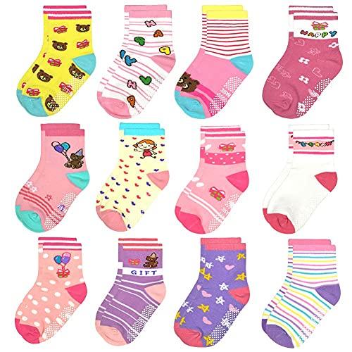 HYCLES ABS Socken Kinder - 12 Paar Anti Rutsch Socken Baby Jungen Mädchen Kinder Kleinkind 16-23-26-31(EU)für 3-5 Jahre böser Bub (12 Paare)