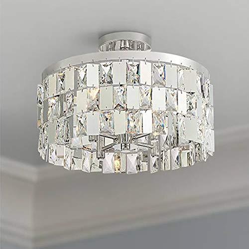 Saint Mossi 4 Lichter Moderne K9 Kristall Regentropfen Deckenleuchte Semi Flush Mount Deckenleuchter Chrom-Finish