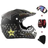 New_Soul 4pcs Cascos de Motocros Casco de Cross Adulto Fantastic FS945 con Gafas Protectoras Guantes Mask (rockstar)