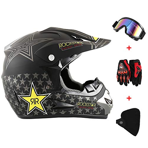 New_Soul 4pcs Cascos de Motocros Casco de Cross Adulto