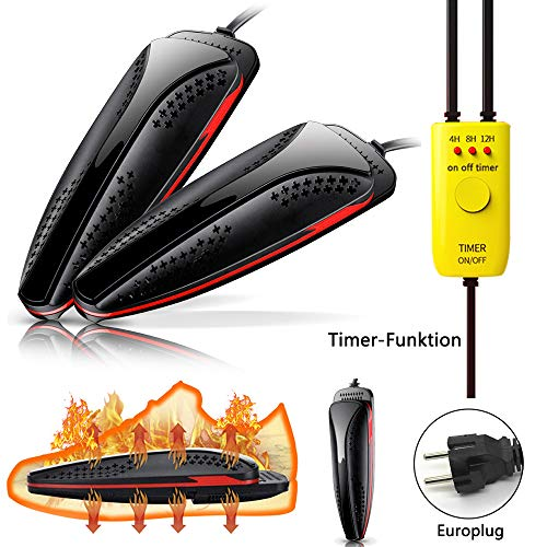 Namotu Schuhtrockner Elektrisch, 【Verbesserte】 Shoe Dryer mit Timer-Funktion, Schuhwärmer Skalierbarer nzug, Dual Core Schnelle Heizung Innerhalb von 3 Minuten, für Alle Schuhe Deodorant Entfeuchtung