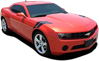 MoProAuto Pro Design Series Camaro Double BAR : Chevy Camaro Lemans Style Hood to Fender Hash Marks Vinyl Graphic Decal Stripes (Color-3M 5095 Matte Black)