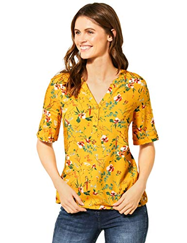Cecil Damen 341986 TOS Flower Print Tunic Bluse, Mango Yellow, XX-Large