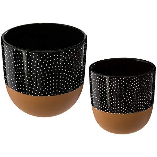 JJA - Set de 2 Pots en Terre Cuite, Couleur Noire à Relief Blanc et Fond du Pot en Terre Cuite Brute
