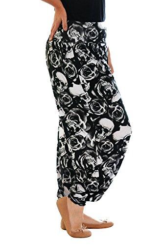 Nouvelle Damen Plus-Size Totenkopf & Roses Haremshose Schwarz 56-58