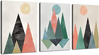Abstract Canvas Wall Art Triangles Sunset Sunrise Abstract Geometry Mountains Canvas Picture Artworks for Bedroom Living Room Bathroom Kitchen Wall Decor 12