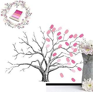 iMagitek Wedding Fingerprint Tree, Creative DIY Guest Signature Sign-in Book Unique Signature Guestbook Canvas Fingerprint...