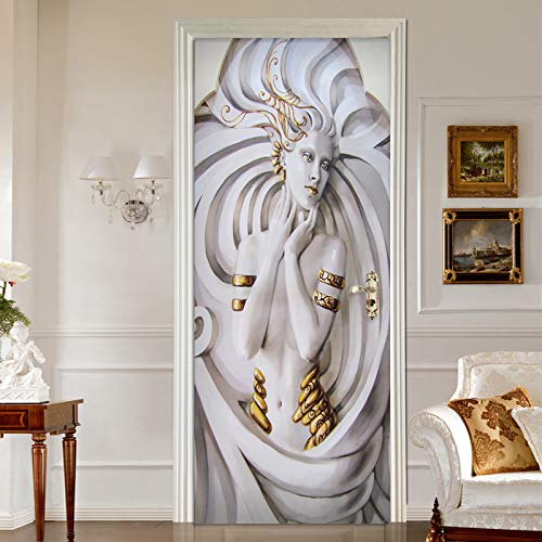 3D deur-wandbehang, deurbehang, deur, mooie meisjes, zelfklevend, behang, deur, afneembare wanddeur, sticker, foto, plakfolie, PVC, deco, voor deur, keuken en woonkamer 95x215cm