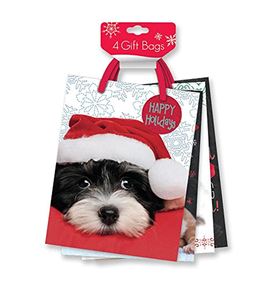4 Pack of Medium Christmas Gift Bags Xmas Giftbags - Photographic Pet Designs w/ Foil & Glitter Finishes on Each Bag!