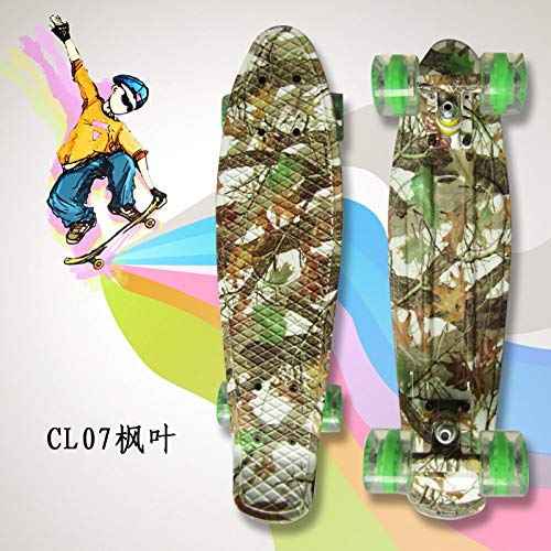 zzzddd Cruiser,Maple Leaf Cruiser Kunststoff Vierrädriges Kleines Fisch-Skateboard Road Single Tilt Skateboard, Leichtes Tragbares Classic Child Adult Outdoor-Sport Brush The Street Skateboard